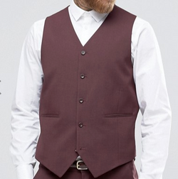 Burgundy Slim Fit Vest Single Breasted 5 Button Design - SUITS FOR MENS