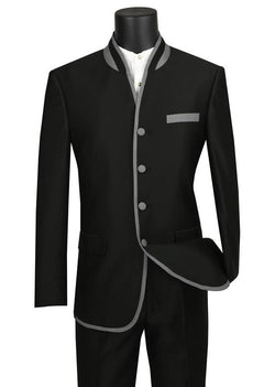 Oriental Collection - Banded Collar Slim Fit Suit Shiny Sharkskin 2 Piece Black