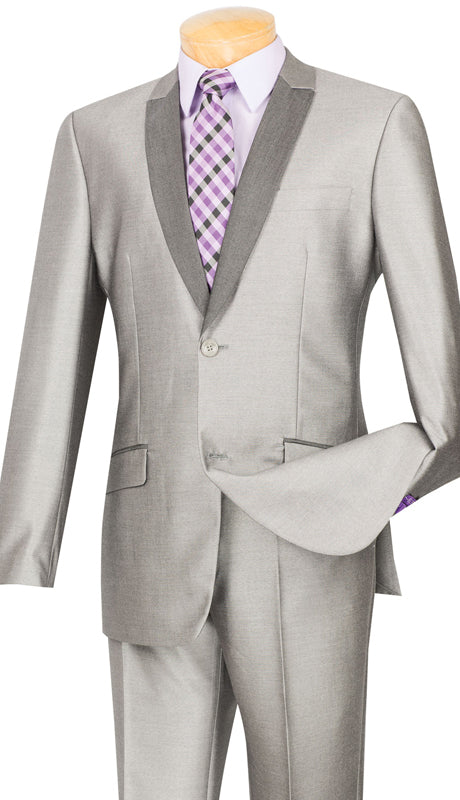 Gray Men's Fashion Slim Fit Suit 2 Piece Sharkskin - SUITS FOR MENS
