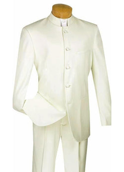 Master Collection - Regular Fit Men's 2 Piece Banded Collar Tuxedo Ivory