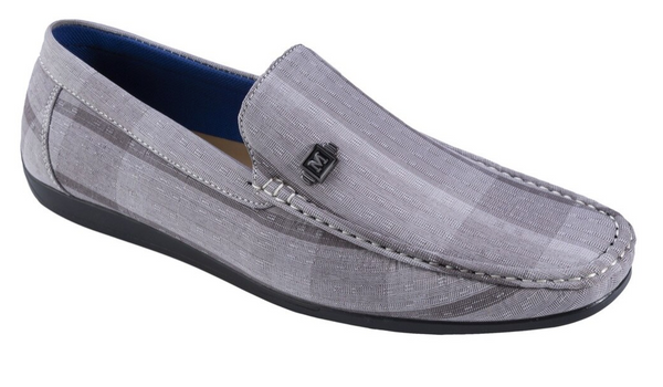 Asymmetrical Prints Men's Gray Fashion Loafer Shoes - SUITS FOR MENS