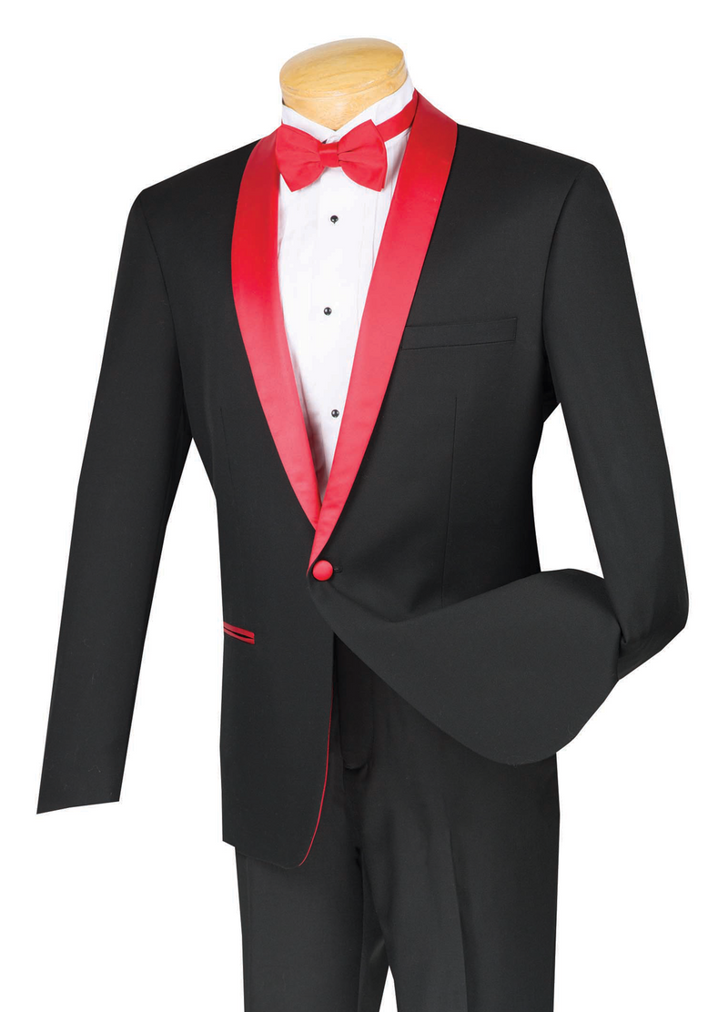 Sierra Collection - 1 Button Slim Fit Tuxedo Black with Red Lapel - SUITS FOR MENS