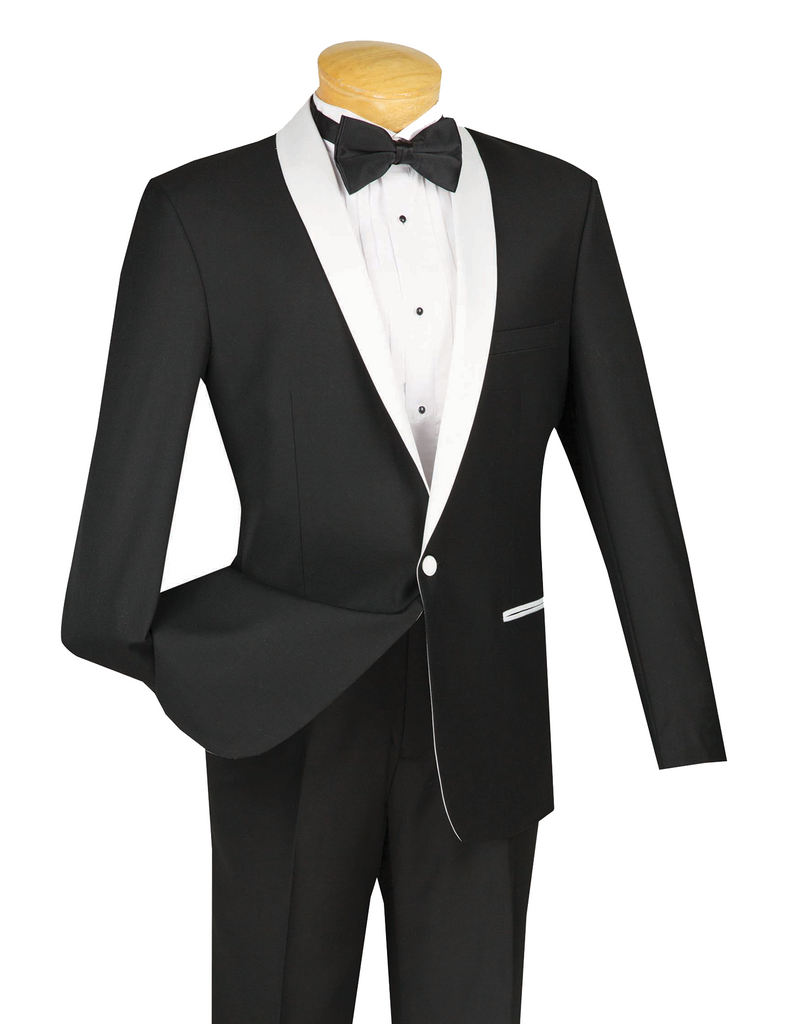 Sierra Collection - 2 Pieces 1 Button Slim Fit Tuxedo Black with White Collar with Flat Front Pants - SUITS OUTLETS