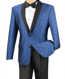 Naples Collezioni - Polka Dots Fashion Suit 2 Pieces Slim Fit Blue - SUITS FOR MENS