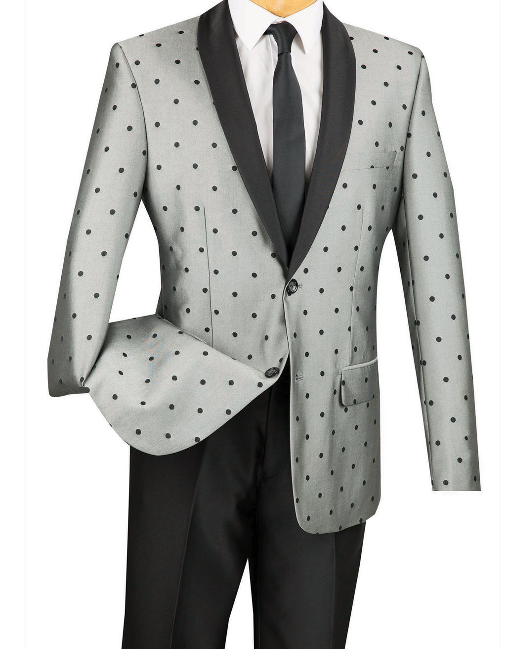 Naples Collezioni - Polka Dots Fashion Suit 2 Buttons 2 Piece Slim Fit Gray - Mens Suits