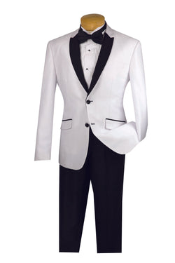 Slim Fit Shiny Sharkskin Men's 2 Piece Suit in White - SUITS FOR MENS