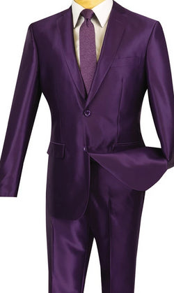 President Collection -  Purple Shiny Sharkskin 2 Piece 2 Button Slim Fit Suit - SUITS FOR MENS