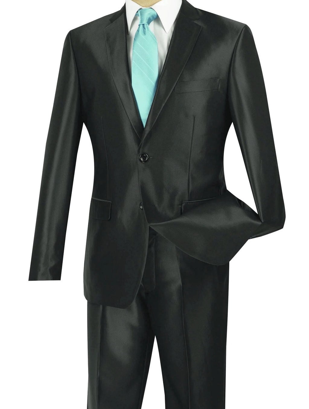 President Collection -  Black Shark Skin 2 Piece 2 Button Slim Fit Suit - SUITS OUTLETS