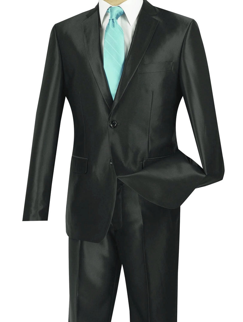 President Collection -  Black Shiny Sharkskin 2 Piece 2 Button Slim Fit Suit - SUITS FOR MENS