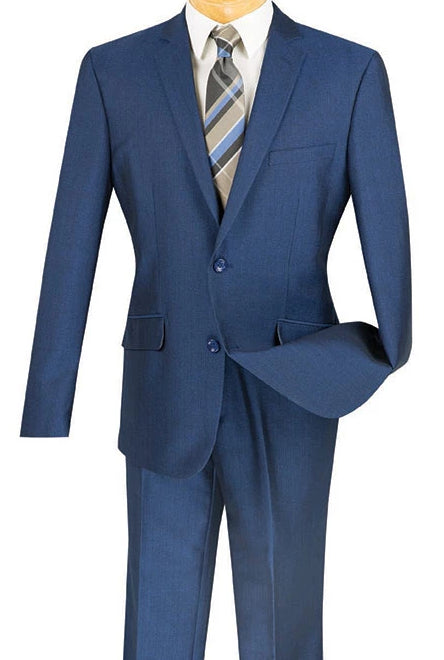 Men's Slim Fit Suit Single Breasted 2 Buttons Design Blue - SUITS OUTLETS