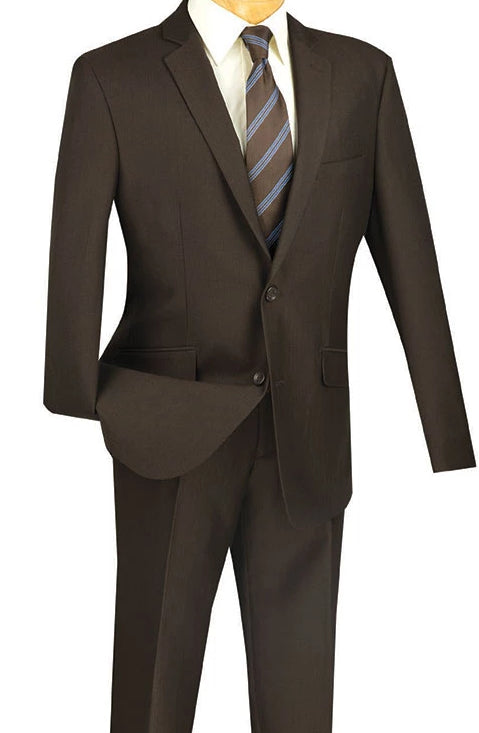 Men's Slim Fit 2 Piece Suit Single Breasted 2 Button Design Brown - SUITS FOR MENS