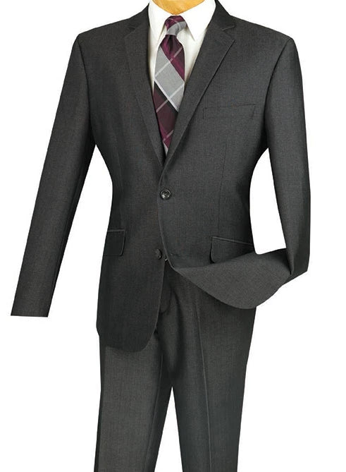 Men's Slim Fit 2 Piece Suit Single Breasted 2 Button Design Smoke - SUITS FOR MENS