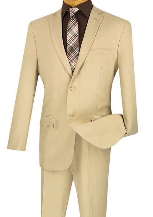 Beige Slim Fit Men's Business Suit Two Buttons Design - SUITS OUTLETS