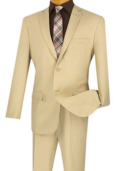 Beige Slim Fit Men's 2 Piece Business Suit 2 Button - SUITS FOR MENS