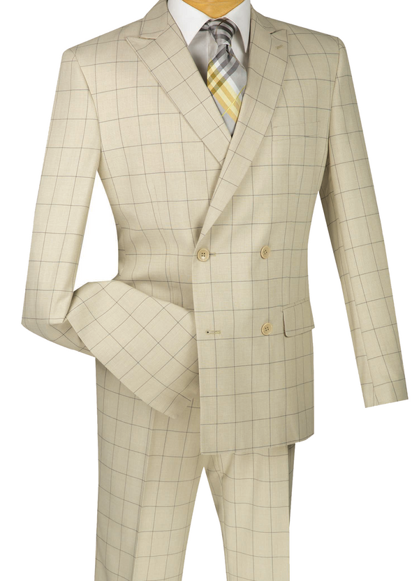 Duke of Windsor Collection - 2 Piece Double Breasted Windowpane Suit Slim Fit Tan - SUITS FOR MENS