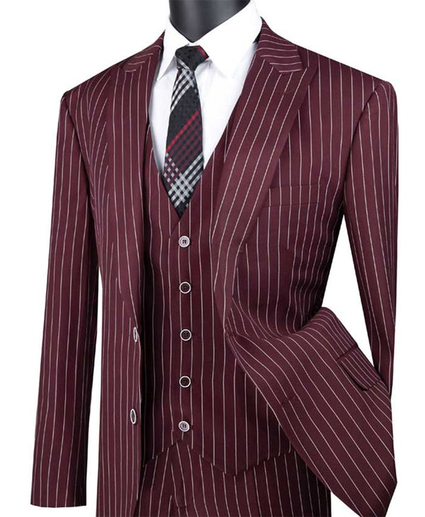 Odyssey Collection - Burgundy Regular Fit 3 Piece Suit 2 Button Gangster Stripe