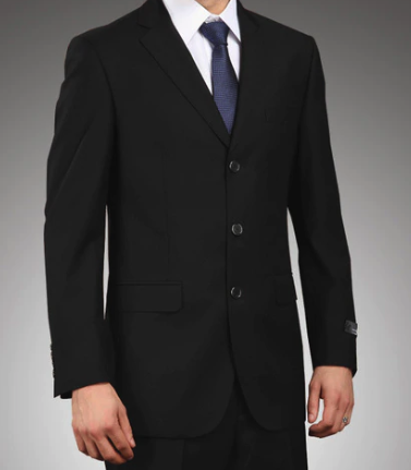 Regular Fit 2 Piece Suit 3 Button in Black - SUITS FOR MENS