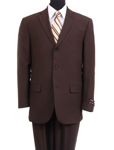 Regular Fit 2 Piece Suit 3 Button in Brown - SUITS FOR MENS