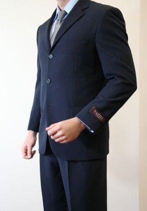 Regular Fit 2 Piece Suit 3 Button in Dark Navy - SUITS FOR MENS