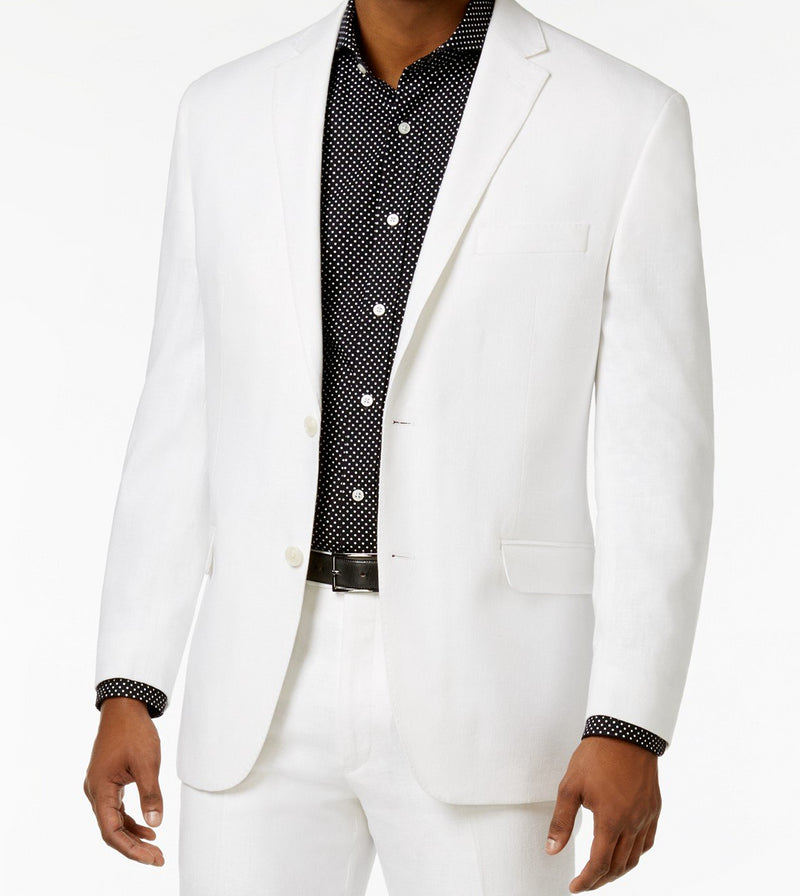 Modern Fit 2 Piece Suit 2 Button White - SUITS FOR MENS