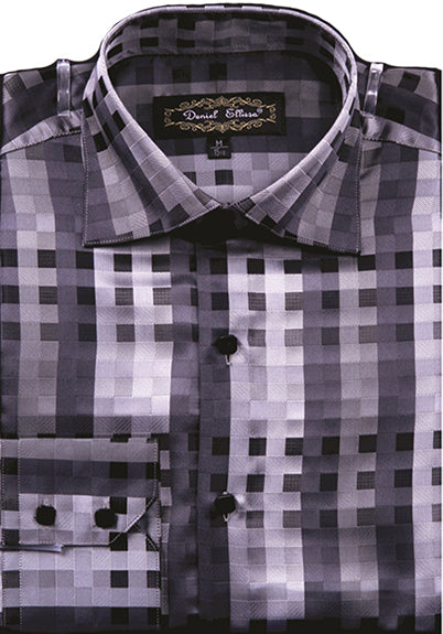Dress Shirt Regular Fit Designer Check Pattern In Black - SUITS FOR MENS
