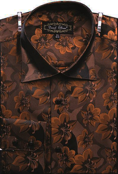 Dress Shirt Regular Fit Floral Design In Brown - SUITS FOR MENS