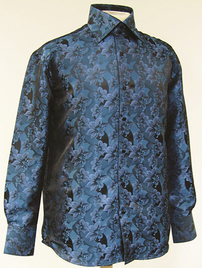 Dress Shirt Regular Fit Floral Design In Teal