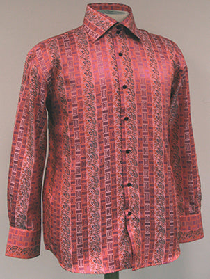 Dress Shirt Regular Fit Paisley And Check Design In Coral - SUITS FOR MENS