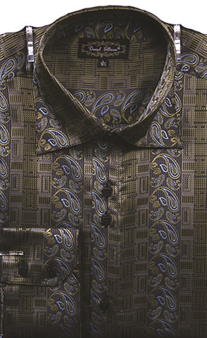 Dress Shirt Regular Fit Paisley And Check Design In Olive - SUITS FOR MENS