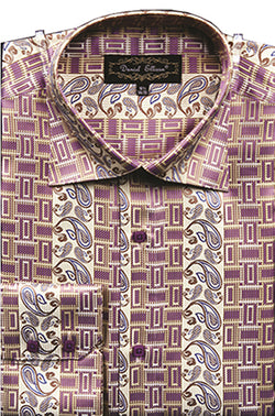 Dress Shirt Regular Fit Paisley And Check Design In Soft Butter - SUITS FOR MENS