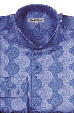 Dress Shirt Regular Fit Designer Pattern In Blue - SUITS FOR MENS