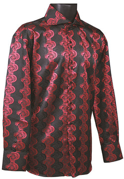 Dress Shirt Regular Fit Designer Pattern In Black/Red - SUITS FOR MENS