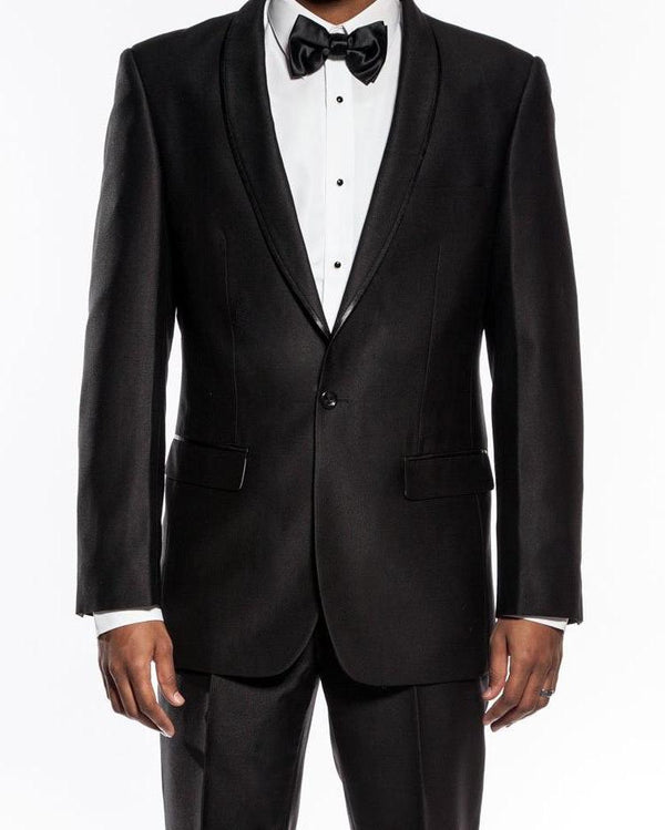 Palazzo Collection - Black Men's Slim Fit Tuxedo Shawl Lapel 2 Piece - Mens Suits