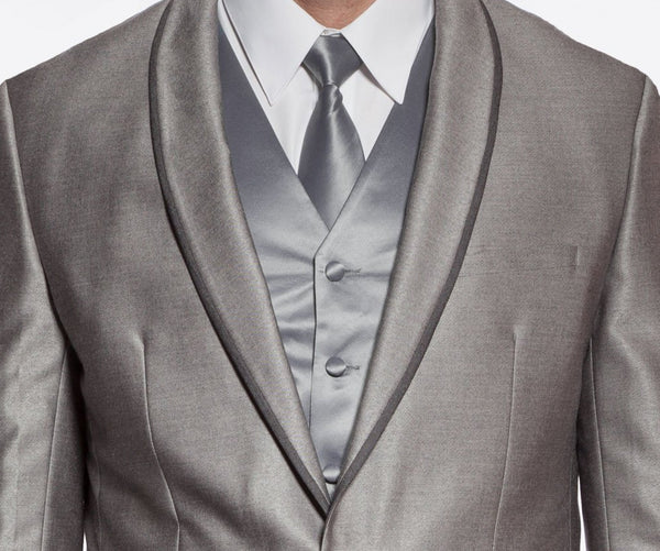 Palazzo Collection - Gray Men's Slim Fit Suit Shawl Lapel 2 Piece - Mens Suits