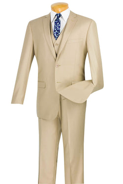 Slim Fit Men's Suit 3 Piece 2 Button in Beige - SUITS FOR MENS