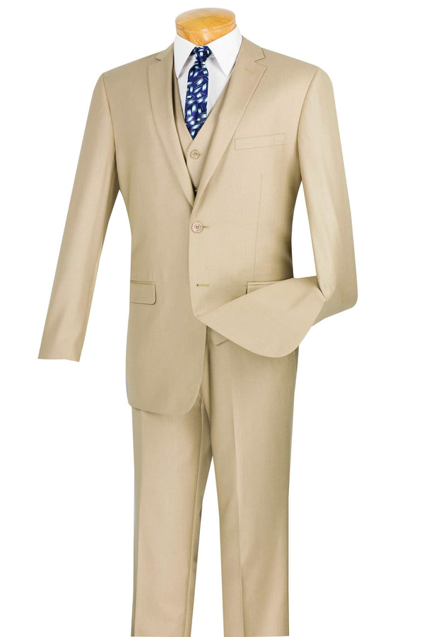 Slim Fit Men's Suit 3 Piece 2 Button in Beige