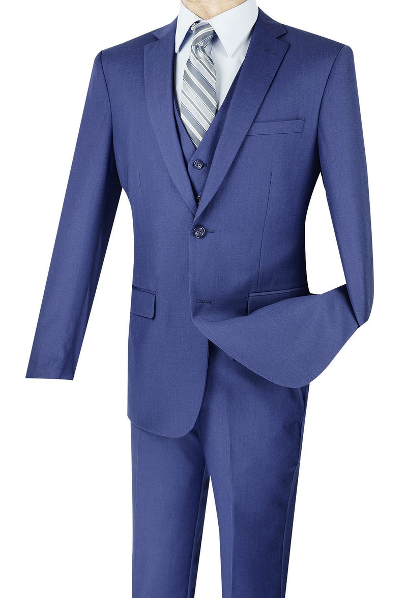 Slim Fit Business Men's Suit 3 Piece 2 Button in Indigo