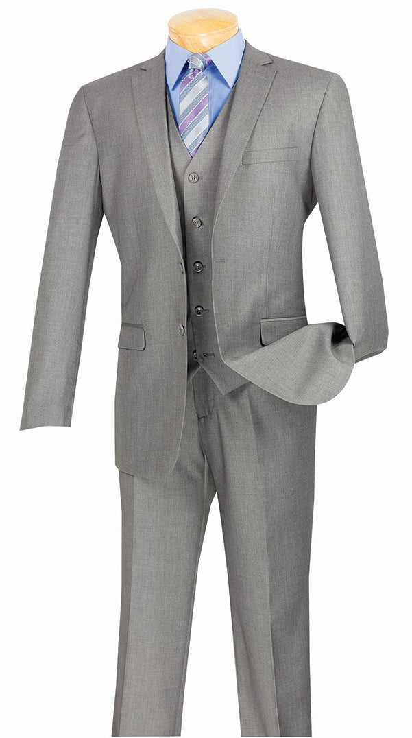Slim Fit Suit 3 Piece 2 Button in Medium Gray - SUITS FOR MENS