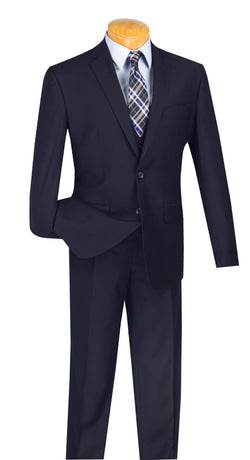 Solid Navy Slim Fit Men's Suit 3 Piece 2 Buttons - SUITS OUTLETS