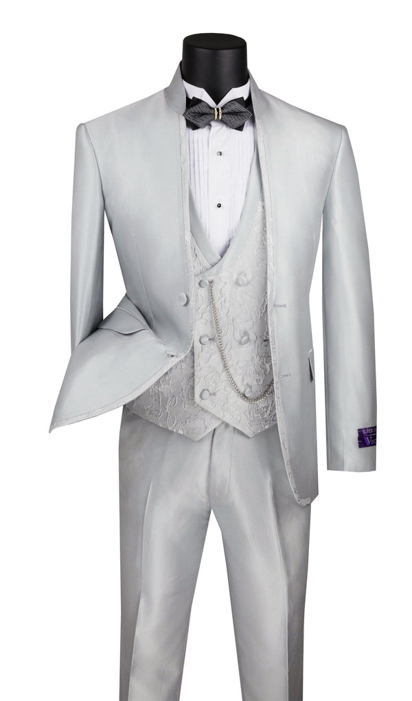 Slim Fit 3 Piece Banded Collar Shiny Sharkskin Suit in Silver - SUITS FOR MENS