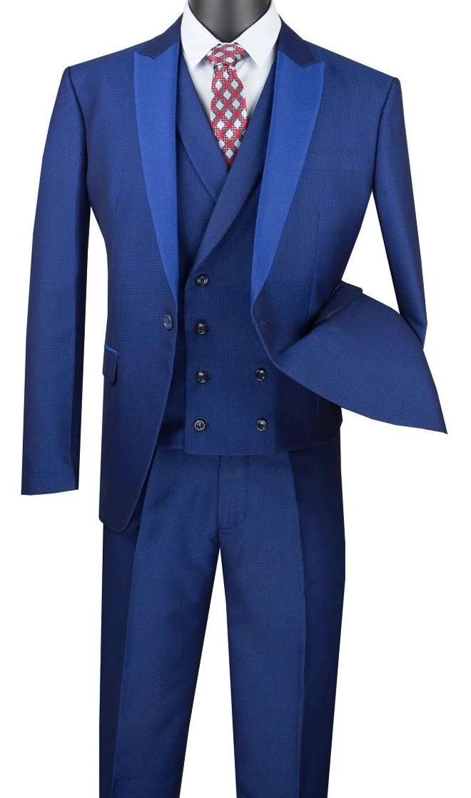 Blue Slim Fit 3 Piece Suit 1 Button with Double Breasted Vest