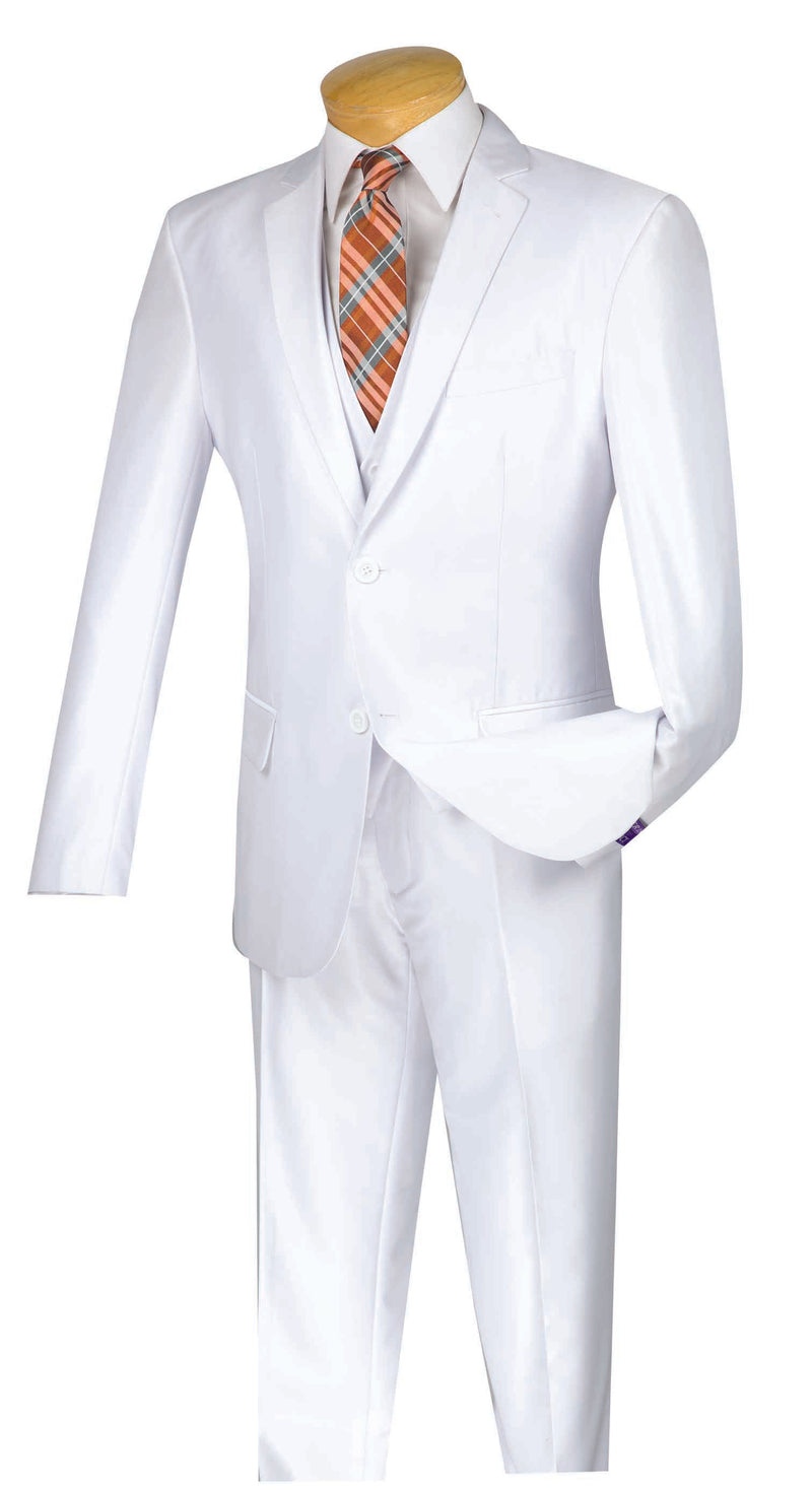 Slim Fit Men's Suit With Vest 3 Piece 2 Buttons in White - SUITS OUTLETS