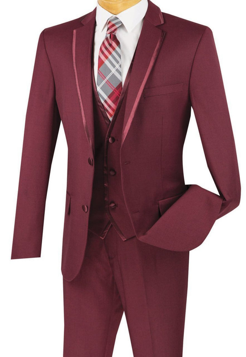 Leonardo Collection - Slim Fit Tuxedo 2 Buttons 3 Piece Burgundy Suit - SUITS FOR MENS