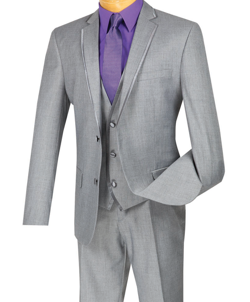 Leonardo Collection - Slim Fit Tuxedo 2 Button 3 Piece Suit Light Gray - SUITS FOR MENS