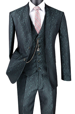 Slim Fit 3 Piece Suit Pine Green Floral Pattern Matching Vest and Pants - SUITS FOR MENS