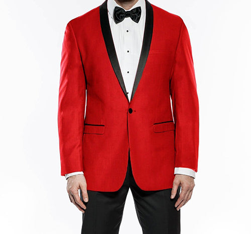 Kingsman Collection - Shawl Collar Slim Fit Tuxedo 2 Piece 1 Button Red - SUITS FOR MENS