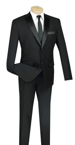 Slim Fit Tuxedo Single Breasted 2 Button Design in Black - SUITS OUTLETS