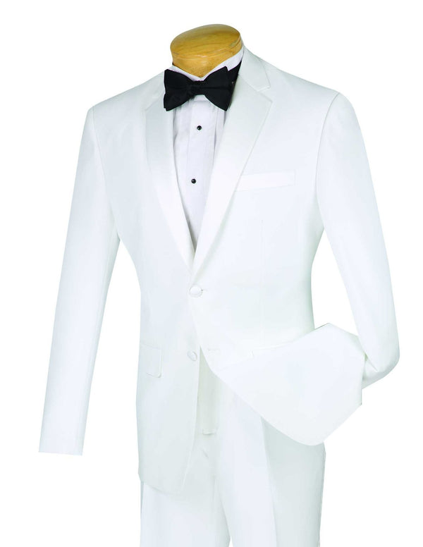 Slim Fit Tuxedo Single Breasted 2 Button Design in White - SUITS OUTLETS