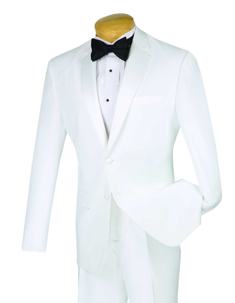 Slim Fit 2 Piece Tuxedo Single Breasted 2 Button Design in White - SUITS FOR MENS