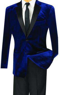 Men's Slim Fit Velvet Tuxedo 2 Piece in Navy - SUITS FOR MENS